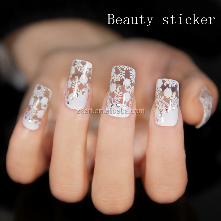Wedding Use Beautiful Nail Lace Sticker Lace Glitter Silver Lace ...