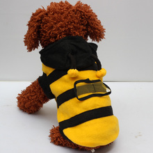 pet clothes hooded stripe clothes Cute honey bee