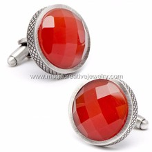 Stainless Steel Red Faceted Cats Eye Checker Board Cufflinks
