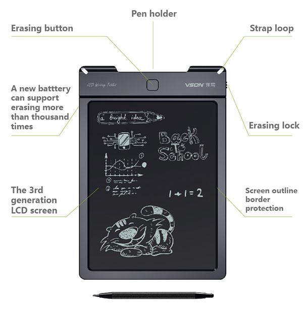Перезаписываемый и стираемые 9 дюймов ЖК-цифровой доски с Пом Stylus