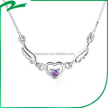 Latest design new stock 925 Sterling Silver Peach heart necklace with the wings of an angel