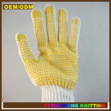 Double Sided pvc dot palm cotton glove/Cotton Gloves With PVC Dots/pvc dotted knitted gloves