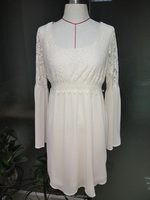 china supplier fashion cheap long bell sleeve midi white lace dress on sales