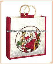 xmas personalized santa printed jute shopping bag