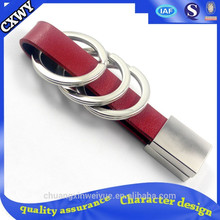 High quality personalized cheap leather and metal keychain promotion