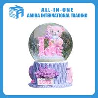 The bear crystal ball music box,Lavender creative resin handicraft