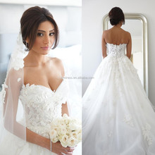 Elegant White A-Line 2015 Latest Women Wedding Dresses Free Shipping Sweetheart Applique Beaded Long Court Train Bridal Gown