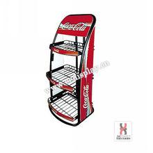 3 shelves beverage soft standing display racks/drink promotion shelves/Metal flooring beverage display standing holders