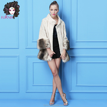 style hot selling Korean ladies double faced fur coat sheepskin leather jacket with fox fur cuffs and lambskin fur coat