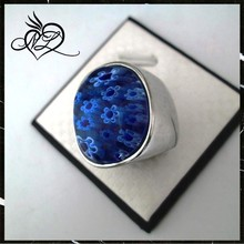 2015 colored glaze flower 316 stainless steel ring royal blue steel ring in bulk