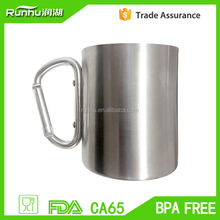 300ml Food grade Stainless steel coffee cup with carabiner handle RH-KB