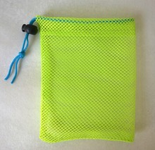Shiny green color nylon mesh bag small drawstring mesh bag