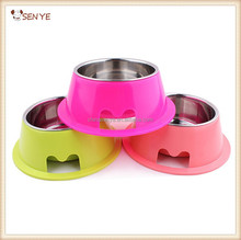 Two-in-one Plastic and stainless steel pet dog food bowls