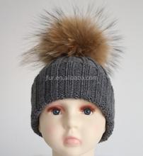 High Quality FashionAcrylic Custom Beanie Pom Knitted Baby Hat Real Fur Ball Top