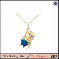 Plated 24k Yellow Gold Lovely Animal Necklace 24K Pure Chain Sterling Silver Minions Necklace