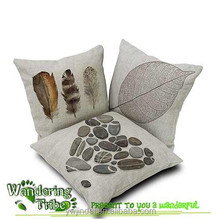 Pillow cover Indian feather Leaf cushion case linen cotton cushions covers for sofa couch decoration
