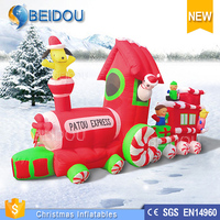 2015 Hot Sale Outdoor Lighted Inflatable Christmas Santa Claus Train for Sale