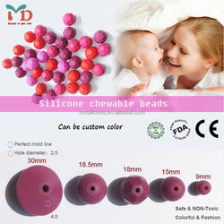 wholesale silicone teething beads/2015Hot Sale Rubber Beads Food Grade Silicone Teething Beads Bulk