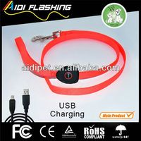Flashing LED Leather Dog Leash with Highlight in Dark, Beautiful Pattern in Different Colors