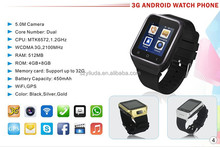 dual sim wrist watch mobile phone/WCDMA|GSM|Android 4.4|Bluetooth 4.0 Smartwatch