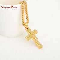 Classic Style Gold cross Pendant Antique fancy pendant Necklace Gold Plated Antique Jewelry