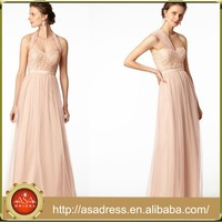 BD54 Custom Made Girl Party Dress for Maid of Honor Champagne Convertible Bridesmaid Dresses Long