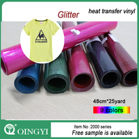 2015 China Qiying hot sales glitter heat transfer vinyl for clothing