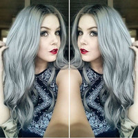Best Quality Grey Color Body Wave 100% brazilian human hair wig