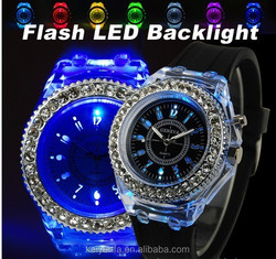 Silicone diamond colorful lights LED luminous watches women sport style