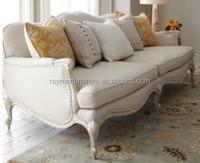 Simple antique exquisite white linen living room sofa set