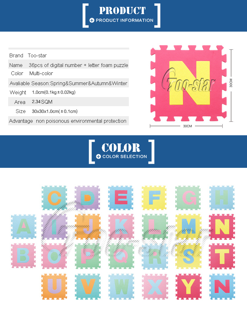 26 Letters Per Set Mixed Colors Foam Alphabet Puzzle Mat 36pcs ...