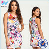 YIHAO latest custom digital print middle aged women lady fashion dress 2015