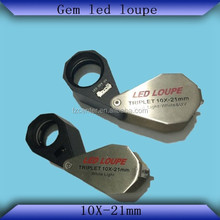 NEW STYLE Metal Folding gem led loupe only LED Lights with Leather package