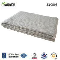 SREDC 100% wool cable knitted throw blanket