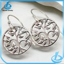 Cheap wholesale circle shape silver tree earring