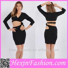 venta al por mayor sexy huecos a cabo negro de manga larga vestido de vendaje