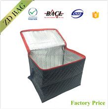 Promotional Embossed Leather thermal tote zip cooler bag