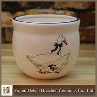 duck painting design white garden ceramic flower pot