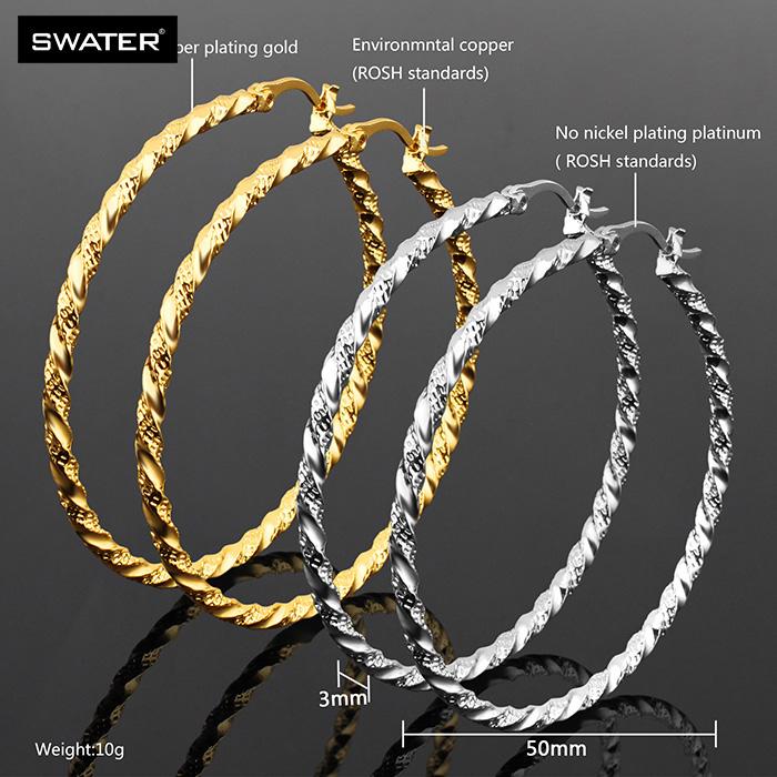 Bisuteria Hoop Earrings Bamboo Shape Casting 24 Carat Gold Earrings