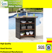 Outdoor Furniture Wholesale Bar Rattan Furniture Woven Wicker Bar Table with Wooden Top