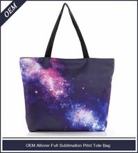 Custom fashion rectangular galaxy printed tote bag