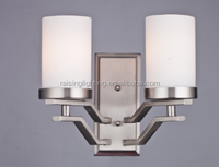 modern plated polished nikel with opal glass 2 light vanity light / wall lamp