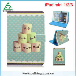 Cartoon marshmallow face tablet leathe case for ipad mini 1/2/3, for ipad mini printing leather case