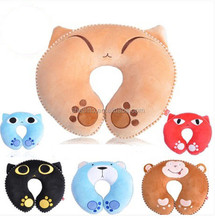 Latest customize embrodery cartoon pattern nap head support round shape plush toy animal neck pillow