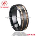 18k chapado en oro anillo de cerámica negro anillos de ajuste cómodo para los hombres