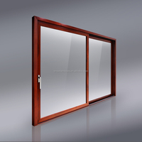 2.0mm wood grain lift and sliding door with power coating finish glass sliding doors.
