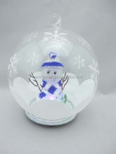 2015 popular clear snow glass ball with snowman inside