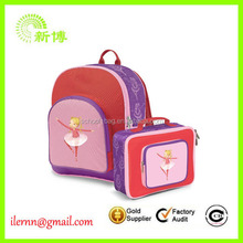 600D Overall Printing Kid School Backpack With Detachable Lunch Bag