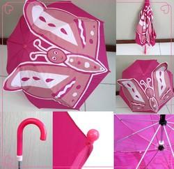 8 ribs manual open cartoon butterfly children umbrella