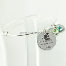silver adjudtable charms personalized message inspired Alex and ani bracelet